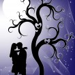 Vector de stock : Couple at night