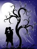 Couple dans la nuit — Vecteur