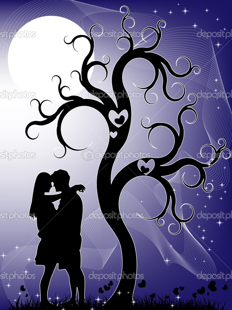 Romantic landscape with a kissing couple during the full moon — Stock Vector #4742311