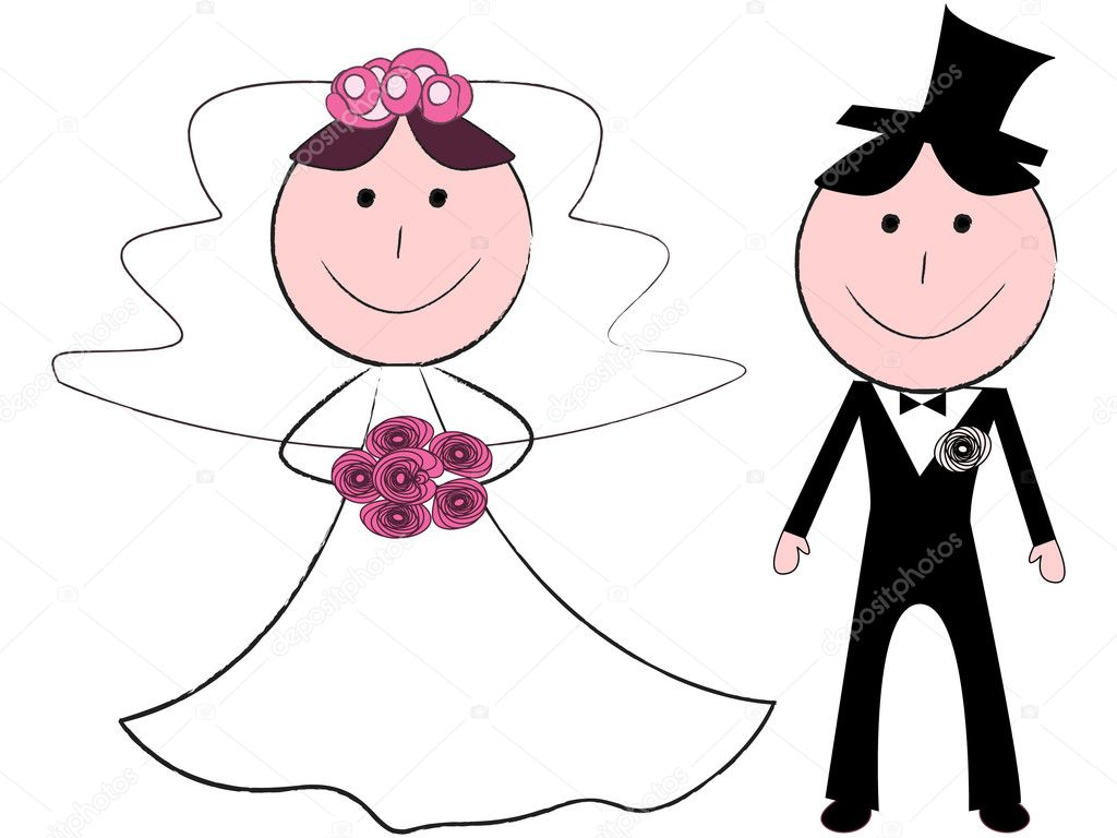 Funny cartoon bride and groom — Stock Vector #4749152