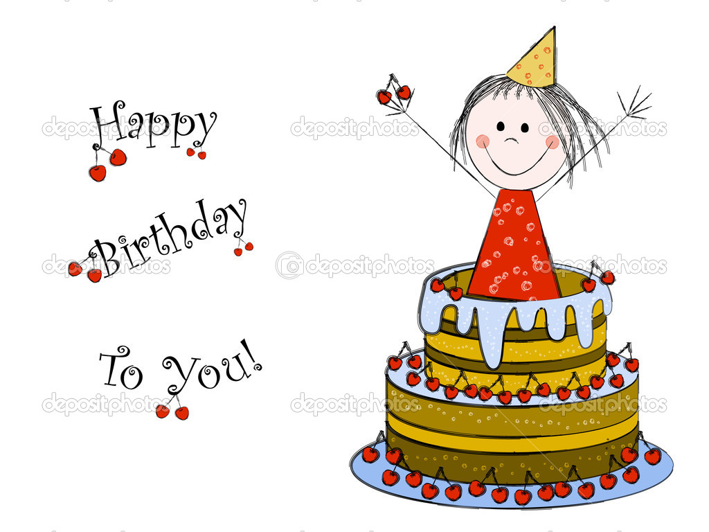 The girl inside the cake - birthday card — Stock Vector #5268600