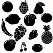 Royalty-Free Stock Vector Image: Fruits silhouettes