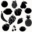 Stock Vector: Fruits silhouettes