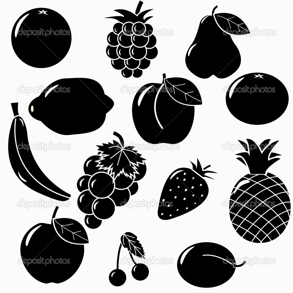 Fruits silhouettes set. 13 fruits vectors — Stock Vector #4566883
