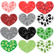 Stock Vector: Fruits hearts