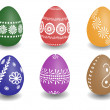 Stock Vector: Wax painted easter eggs
