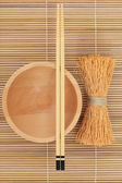 Japanese Bowl Chopsticks and Whisk — Stock Photo
