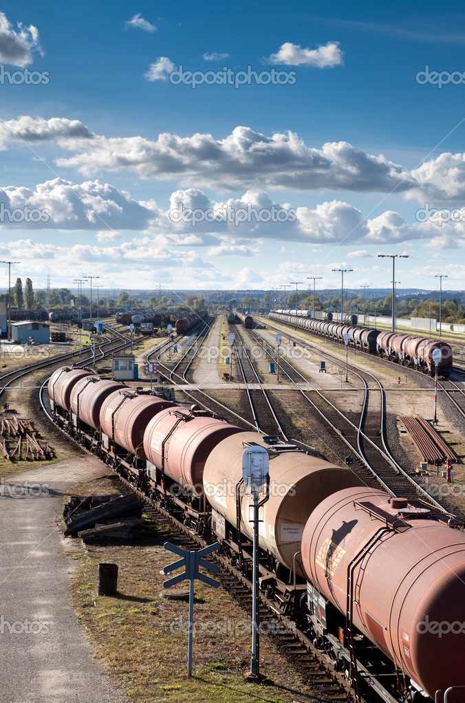 Complex railway track system and many tank cars. — Foto Stock #4039434
