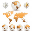 Stock Vector: Earth globes with world map