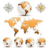 Globi di terra con la mappa del mondo — Vettoriale Stock