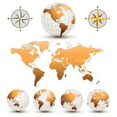 Globos de tierra con mapamundi — Vector de stock