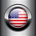 North American USA flag button — Stock Vector
