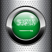 Saudi Arabian flag button — Stock Vector