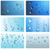 Water, wet cards. — Stock Vector