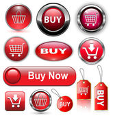 Buy buttons, icons set. — Stock Vector