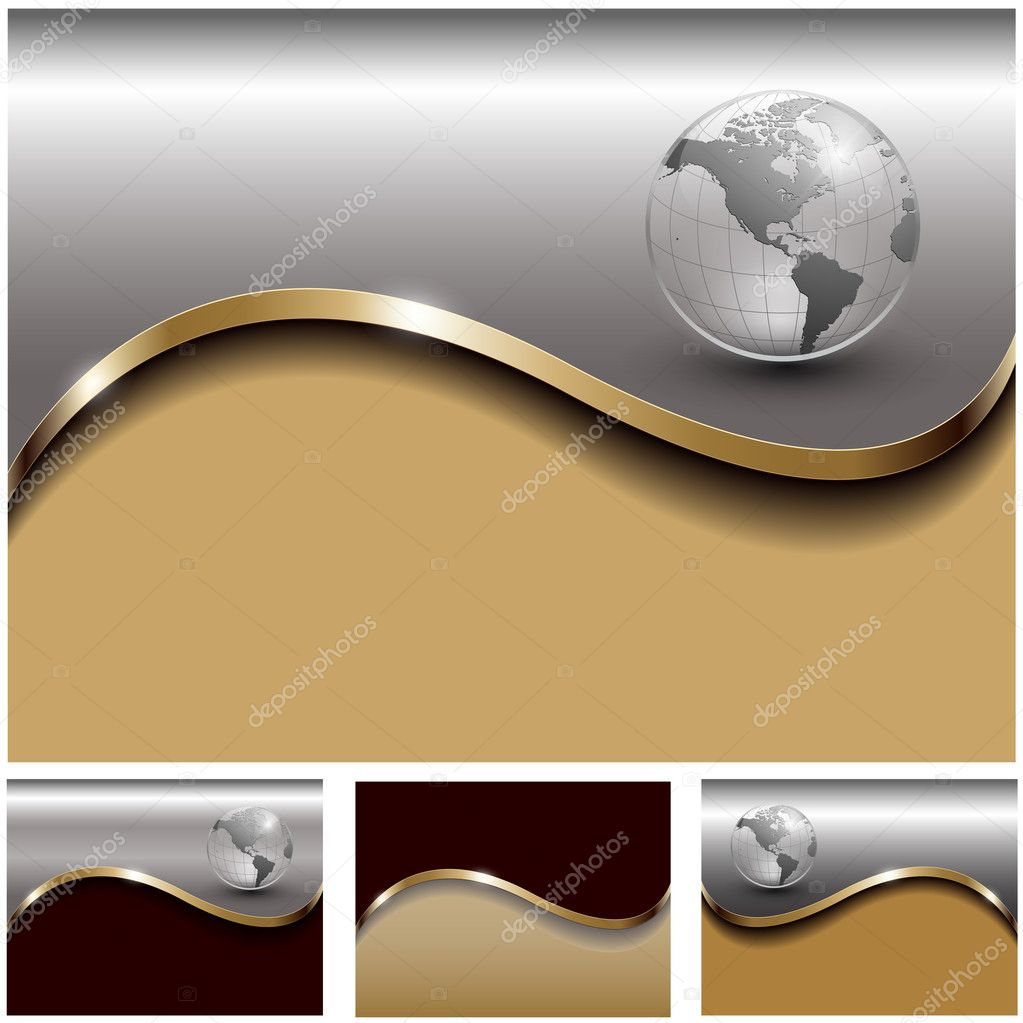 Abstract business backgrounds gold and silverl set, vector  Stock Vector #4584808