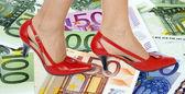 Chaussures et fond argent — Photo