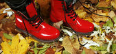 Red boots — Stock fotografie