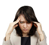 Young businesswoman with headache — Stock Photo