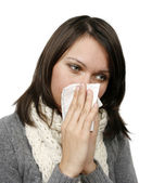 Woman who has caught cold — Stock Photo