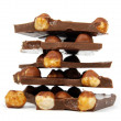 Chocolate pieces with nut — Stock Photo