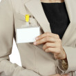 Woman showing her badge — Stock Photo