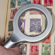 Philatelist browsing their vintage stamps of India - Stock Photo