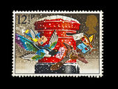 Vintage stamp of christmas post box with clipping path — Stock Photo