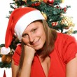 Beautiful girl with christmas tree — Stock Photo