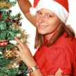 Beautiful girl with christmas tree — Stock Photo #3970265
