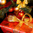 Christmas tree and gift — Stock Photo #4479503