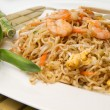 Spaghetti chinese with shrimp and mushroom - Stock Photo