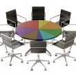 Stock Photo: Pie chart table with chairs