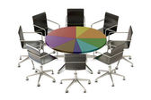 Pie chart table with chairs — Stock Photo