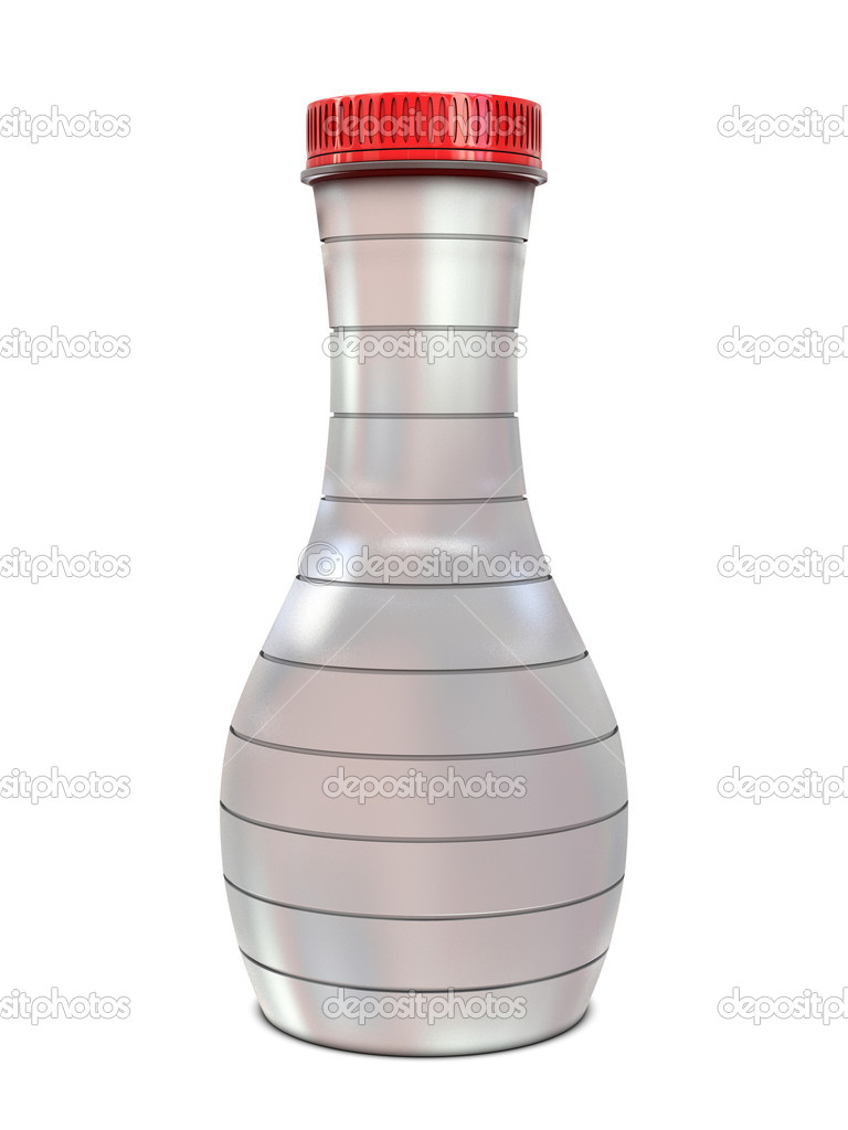 Glass bottle elegant with red cap isolated on white background — Stock Photo #4069183