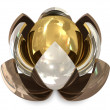Spheres bronze, silver and golden — Stock Photo