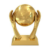 Golden award trophy with stars, hands and basket ball — Stock Photo
