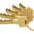 Golden keys with buildings — Stock Photo