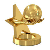 Golden trophy with star, hands and soccer ball — Stok fotoğraf