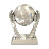 Silver award trophy with stars, hands and basket ball — Stock Photo