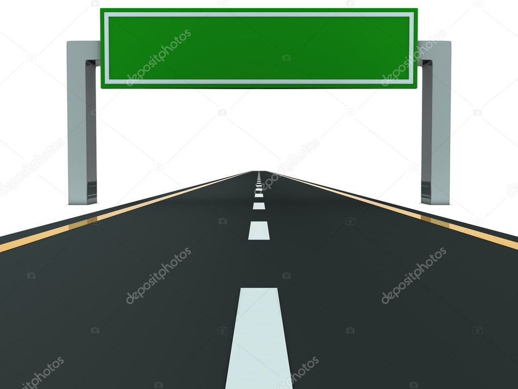 Segment of road with big blank green table — Stock Photo #4538405