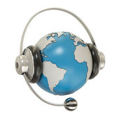 Earth and headphones — Stock Photo
