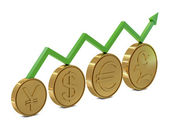 Currencies symbols in golden coins and green line — Stock Photo