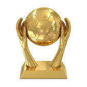 Golden award trophy with hands and soccer ball — Stock Photo