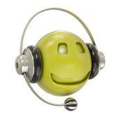 Auriculares y sonriente personaje — Foto de Stock