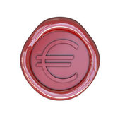 Wax seal with euro sign — Stock Photo