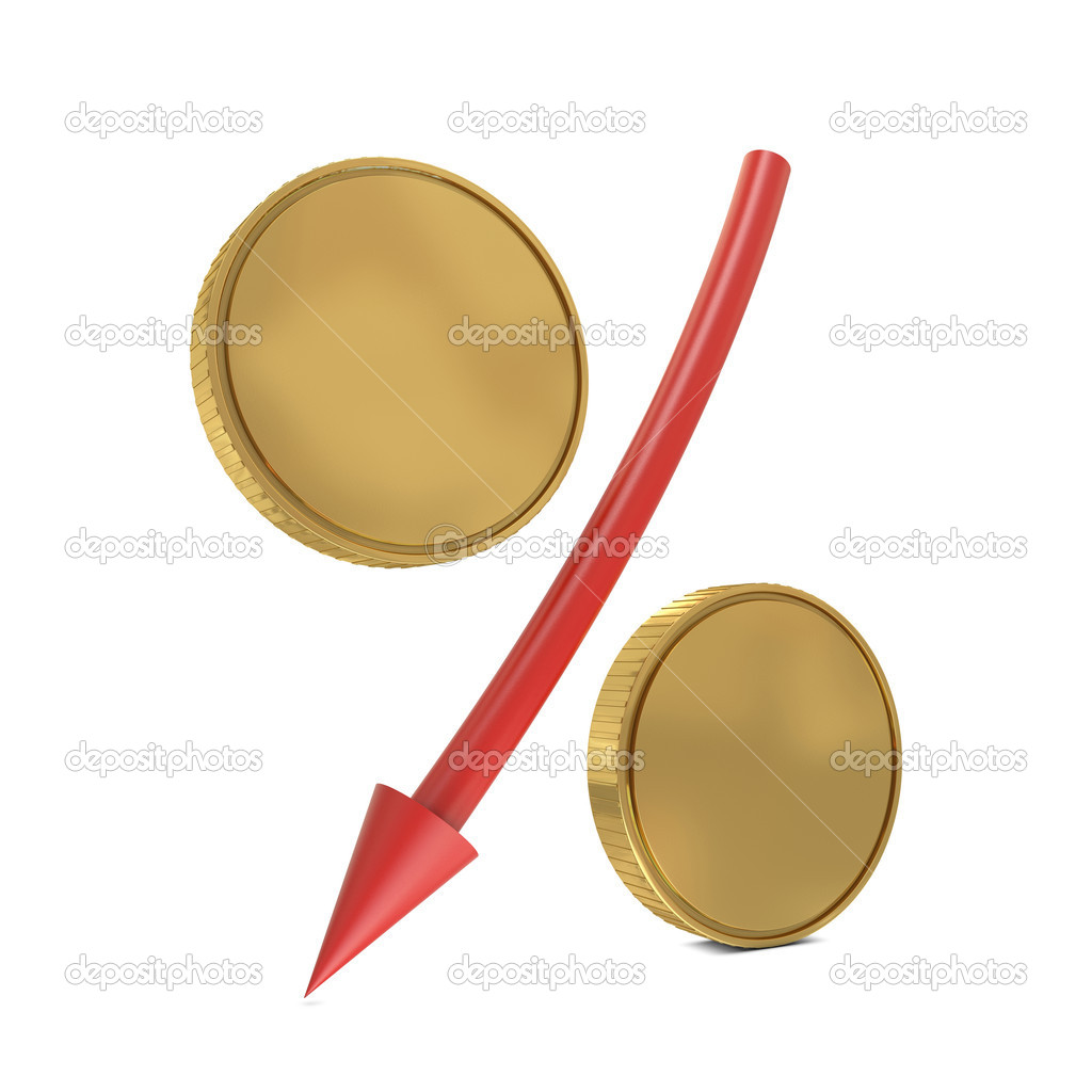 Percent sign with golden coins and red arrow isolated on white — Stock Photo #4914897