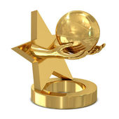 Golden trophy with star, hands and basket ball — Stock Photo