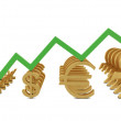 Stock Photo: Golden currencies symbols and green growth line