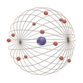 Multiple electron paths around the nucleus — Stock Photo